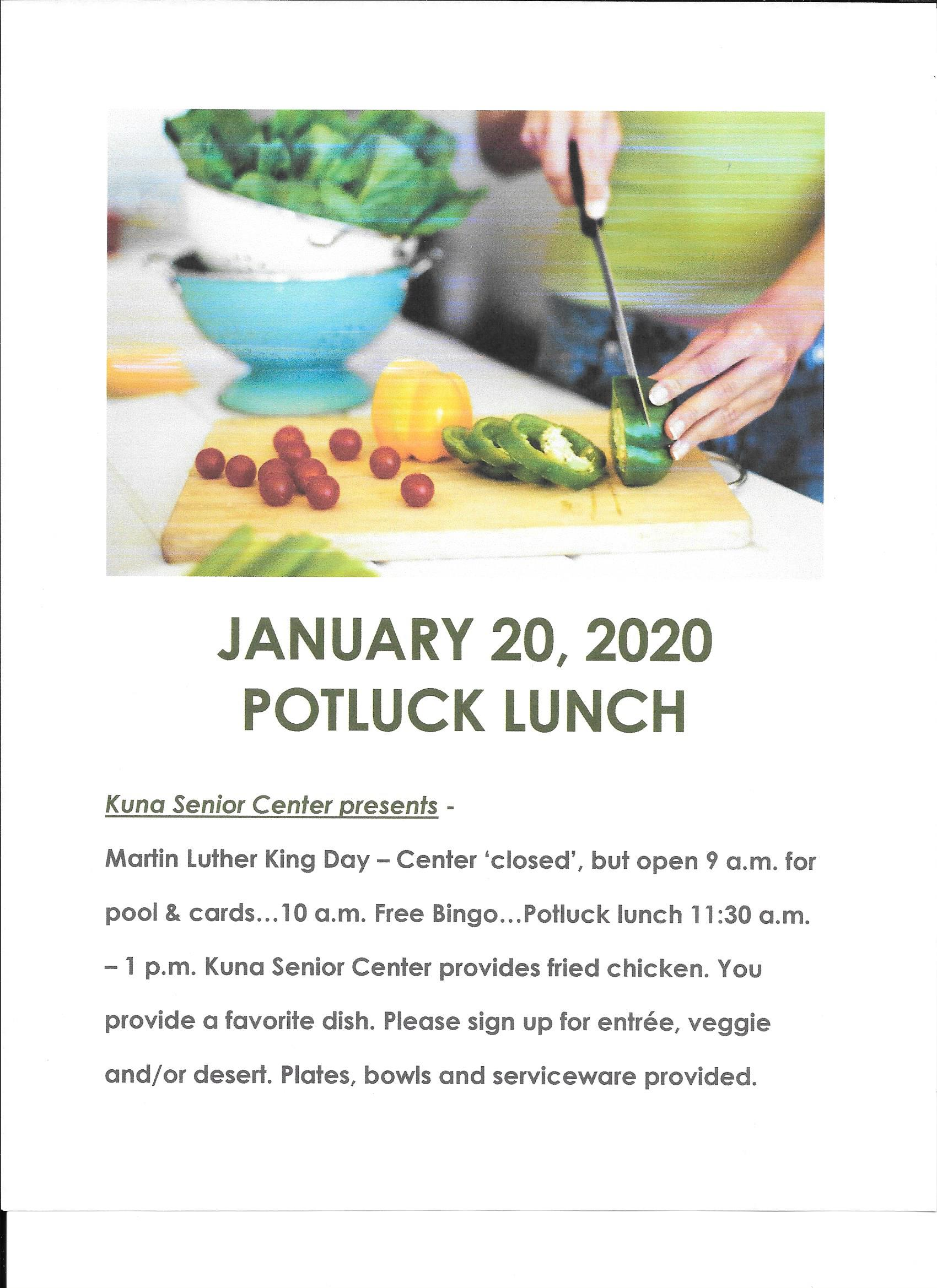 Kuna Senior Center Jan 20 Potluck 2020