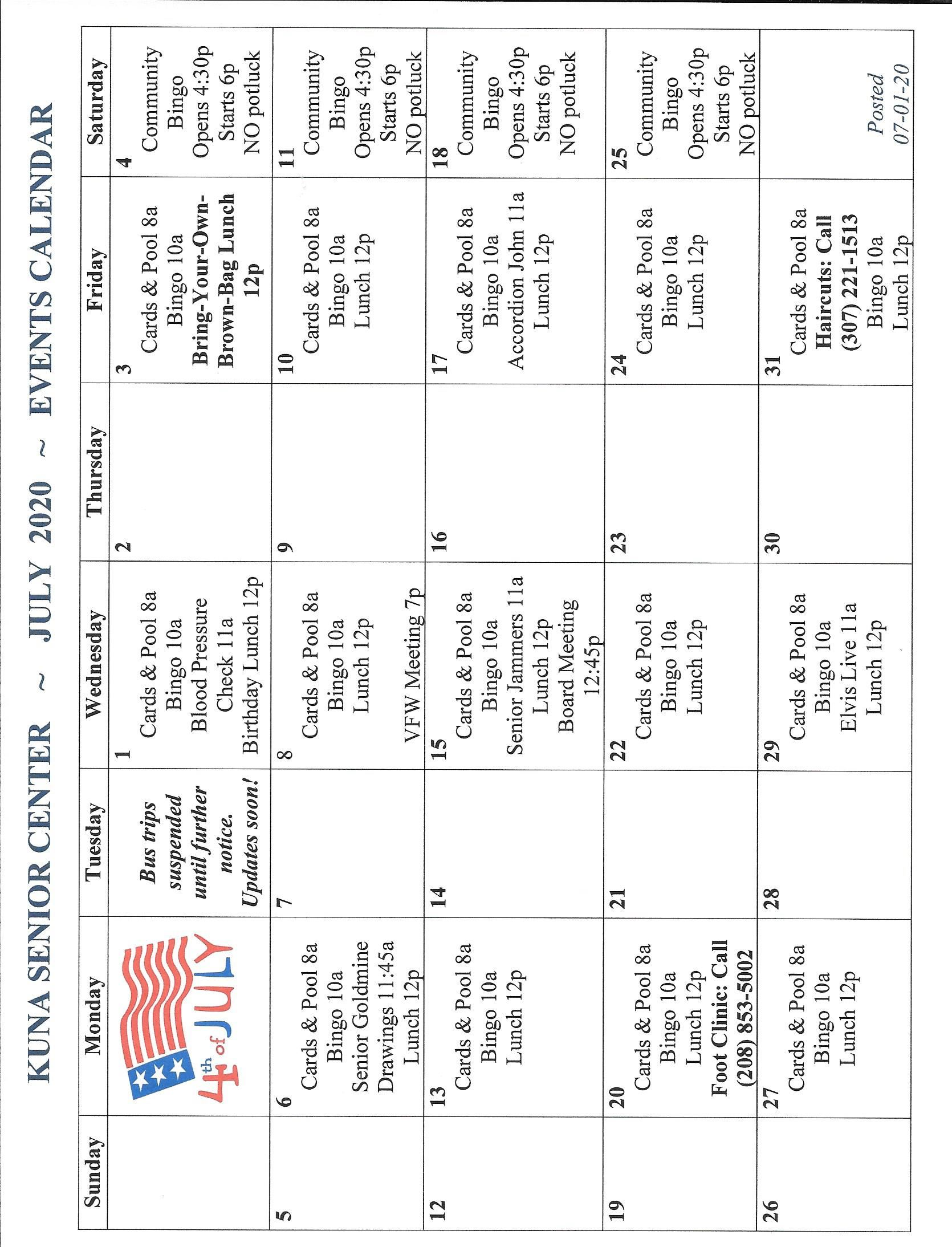Kuna Senior Center Events Calendar July 2020 artwork JPEG)
